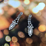 Vintage 60s Marquise Crystals Chandelier Earrings