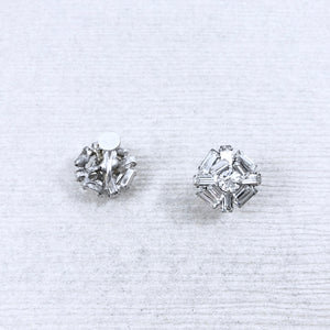 60s Vintage Crystal Rhinestone Art Deco Snowflakes Earrings
