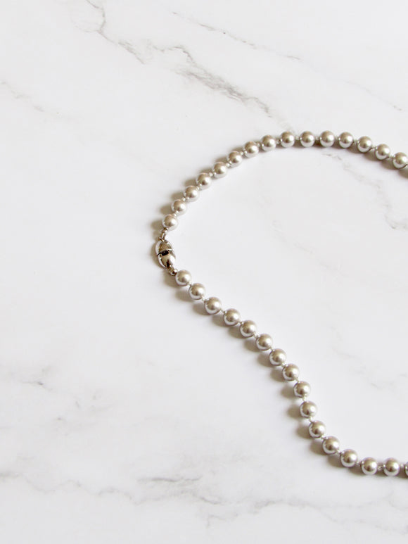Monet Pearl Beads Silver Choker Necklace
