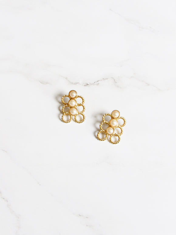 Aligning Circles Pearl Gold Statement Earrings