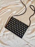 White Beads Black Clutch Bag with Braided Strap
