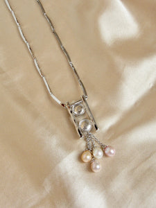Reconnection Tourmalines and Biwa Pearls White Gold Necklace