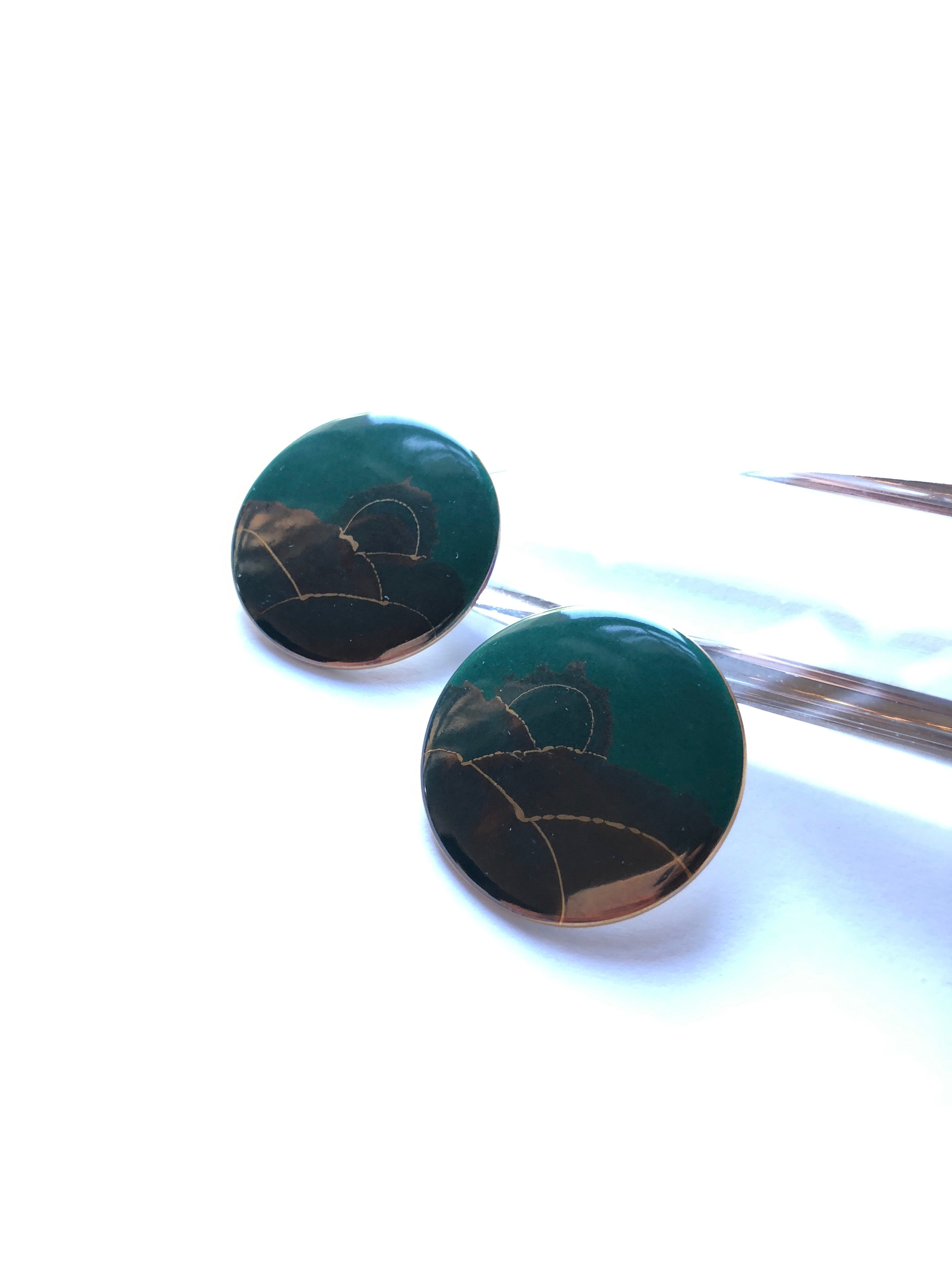 80s Lush Reflection Disc Statement Earrings