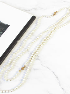 White Extra Long Faux Pearl Necklace