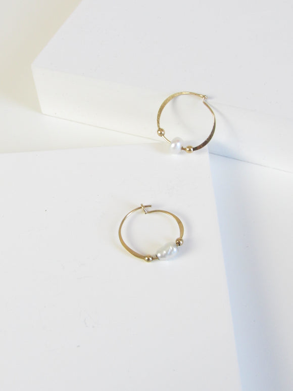 White Freshwater Pearl Beads Gold Vermeil Hoop Earrings