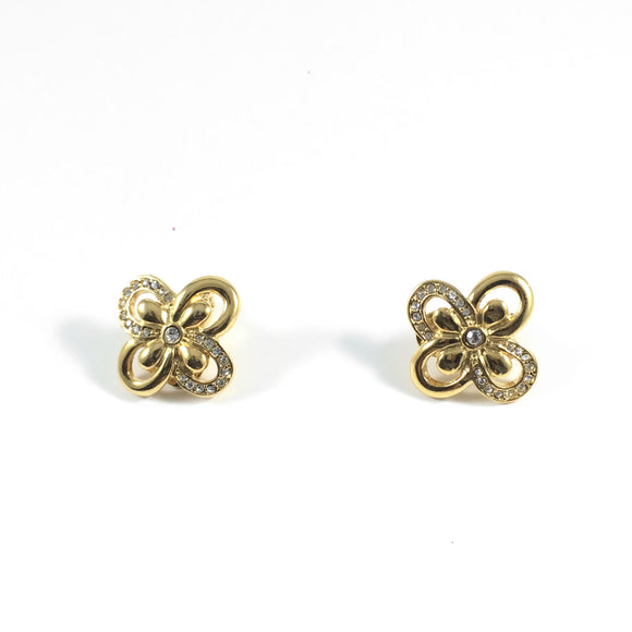 Vintage Classic 80s Signed Monet Gold Clover Clip-on Earrings