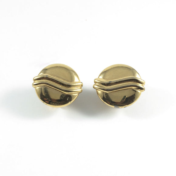 Vintage Classic 70s Signed Monet Gold Clea Clip-on Earrings