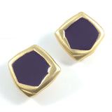 70s Vintage Runway Georgiou Enamel Gold Tone Clip-on Earrings