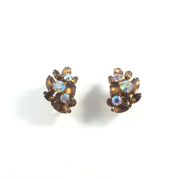 Holiday Classic Vintage 60s Radiate Coco Vintage Rhinestone Crystal Clip-on Earrings