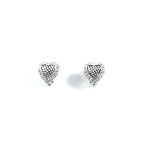 Vintage Sliver Sweetheart Sparkle Crystal Vintage Clip-on Earrings | Holiday Gift