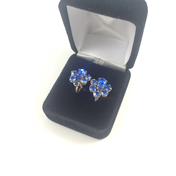 Geo Sapphire Rhinestones 1960' screw-back Earrings