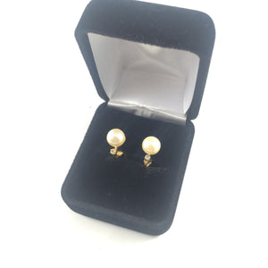 Classic Vintage Pearl & Crystal Clip-on Earrings