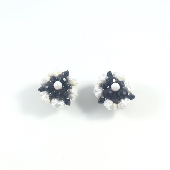 60s Vintage Monochrome Beads Floral Clip-on Earrings