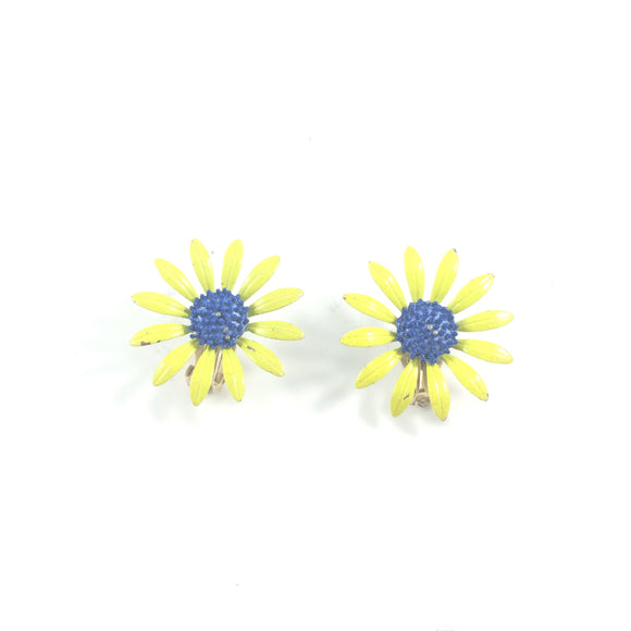 Vintage Sun Flower Floral 60s' Clip-on Earrings