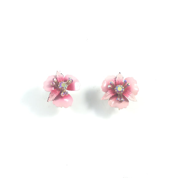 Pink Hibiscus 1960s' Signed Lisner Floral Clip-On Earrings