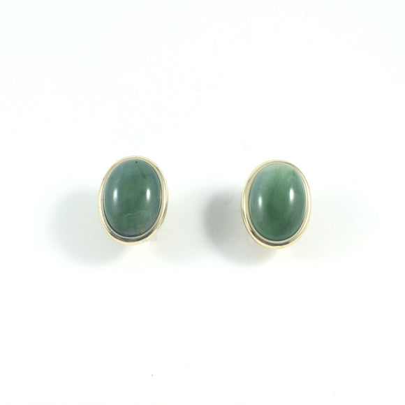 Vintage Oval Gold Frame Lucite Jade Clip-On Earrings
