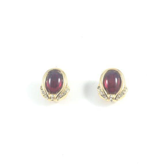 Vintage Ruby Resin Gold Tulips Clip-on Earrings