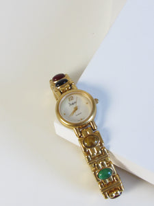 Semi Precious Multicolor Stone Gold Tone Ladies Watch