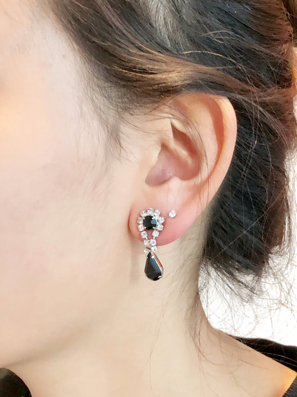 Chaton Rhinestone Crystal and Dangle Drop Earrings
