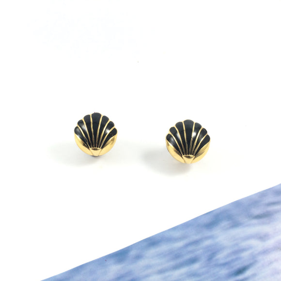 Vintage Cloisonne Mermaid Coquille Black Shell 80s' Monet Gold Plated Clip-on Earrings