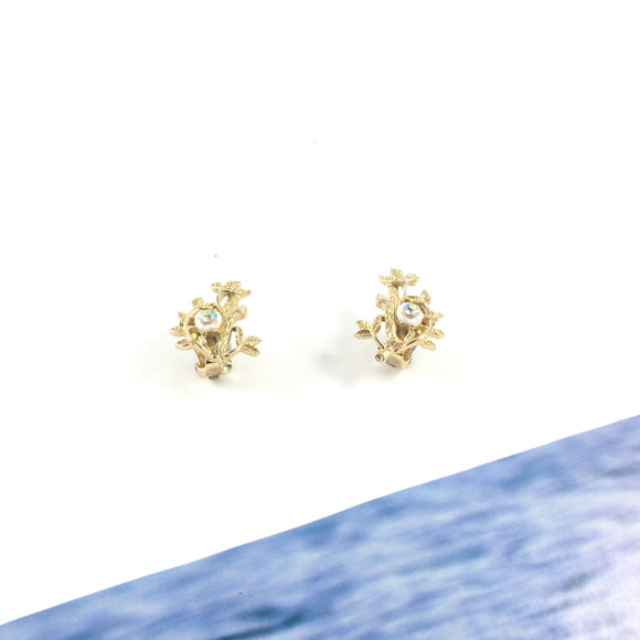 Ocean Treasure Sparkle Gold Vintage 80s Clip-on Earrings
