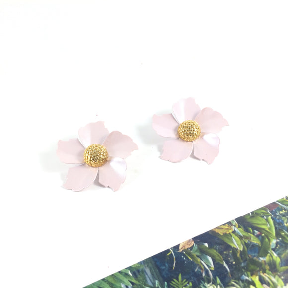 Pink Magnolia Vintage 80s' Floral Pierced Earrings | Holiday Gift | Holiday Party