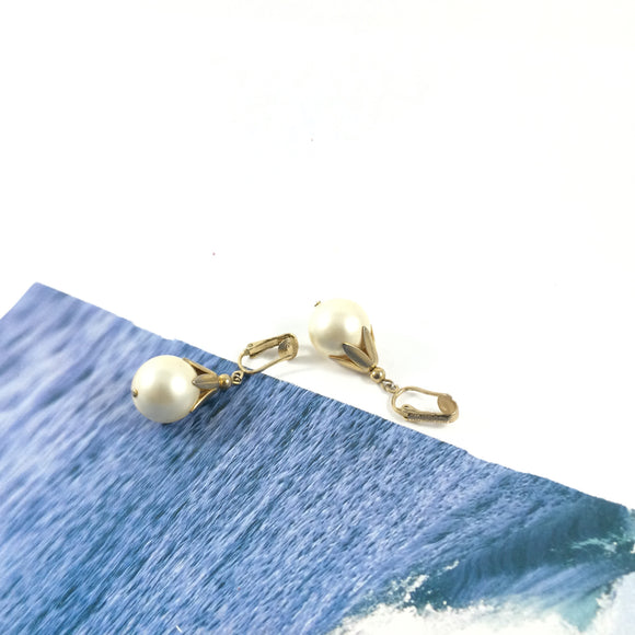 Vintage 80s Sarah Coventry Pearl Drop Earrings
