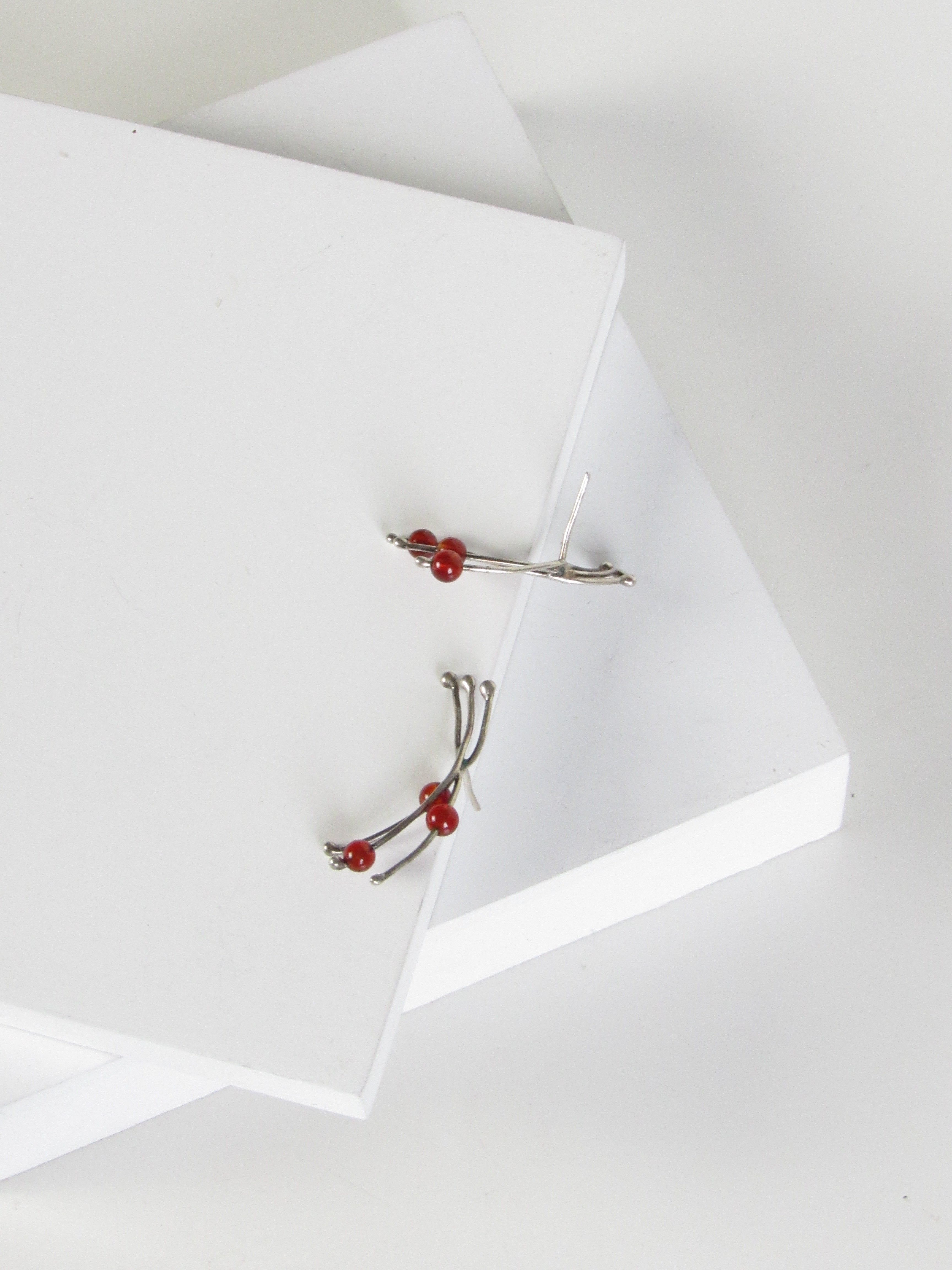 Abstract Red Agate Beads Silver Earrings