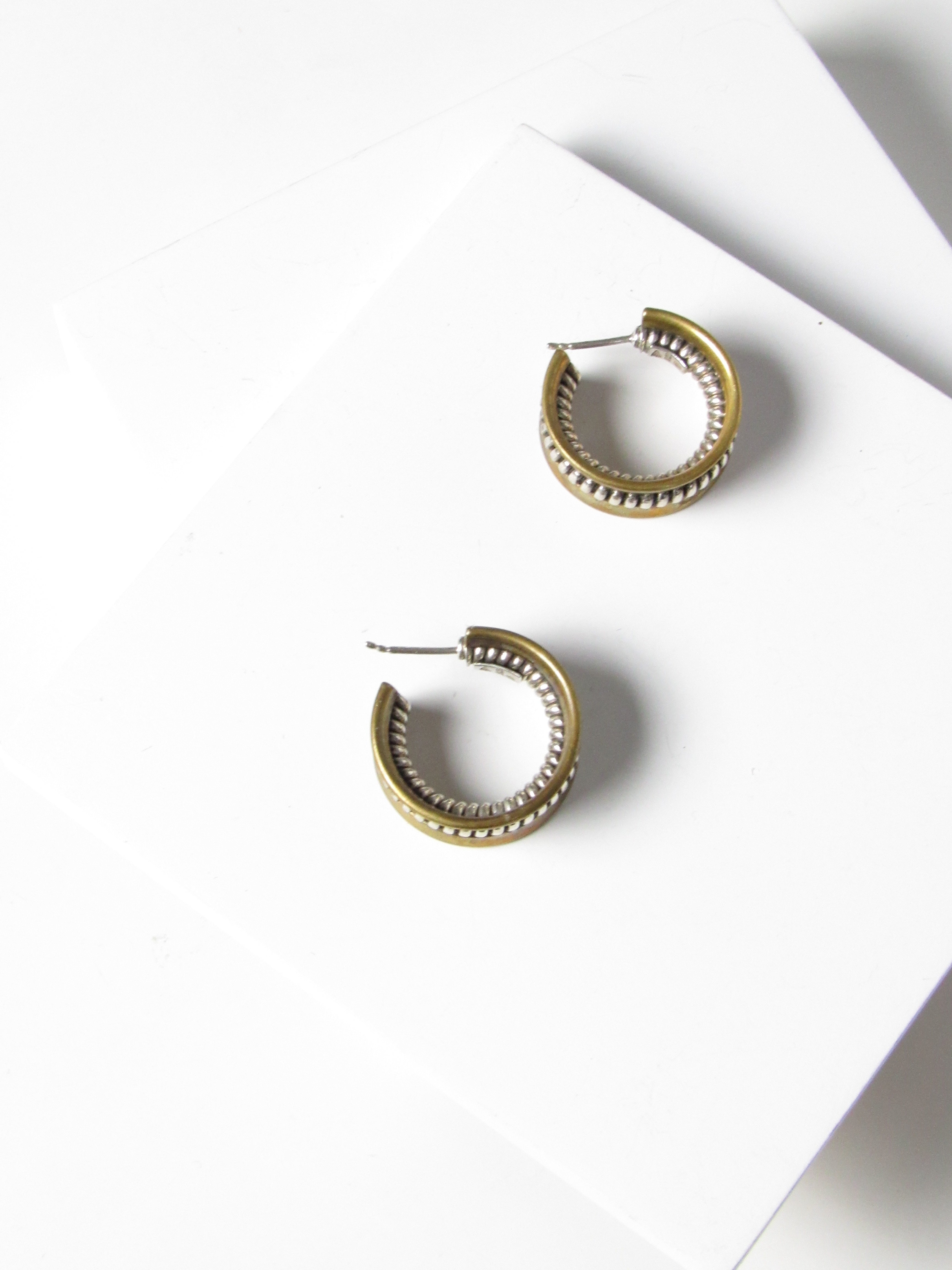Embed Silver Rope Gold Hoop Earrings