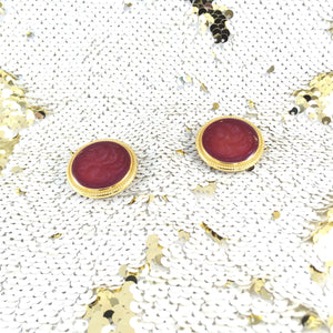 Vintage Gold Framed Scarlet Round Marble Lucite Earrings
