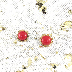 80s Vermillion Round Statement Vintage Earrings
