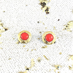 60s Empire Cherry Jam Biscuit Gold Frame Classic Vintage Earrings