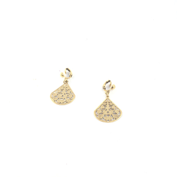 Petit Palais Gold Embossed Vintage Dangle Clip On  Earrings