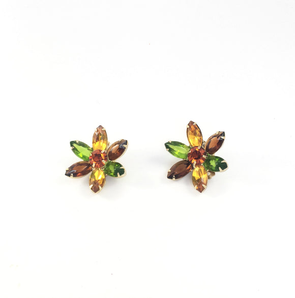 Amber Flower Vintage 80' Rhinestone Clip On Earrings | Holiday Gift