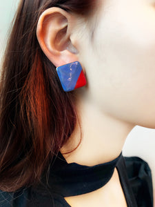 80s Vintage Mod Cubes Statement Earrings