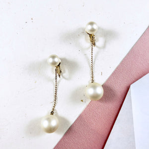 70s Trifari Pearl Drop Earrings