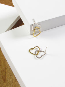 Interlocked Heart Silver Gold Dangle Earrings