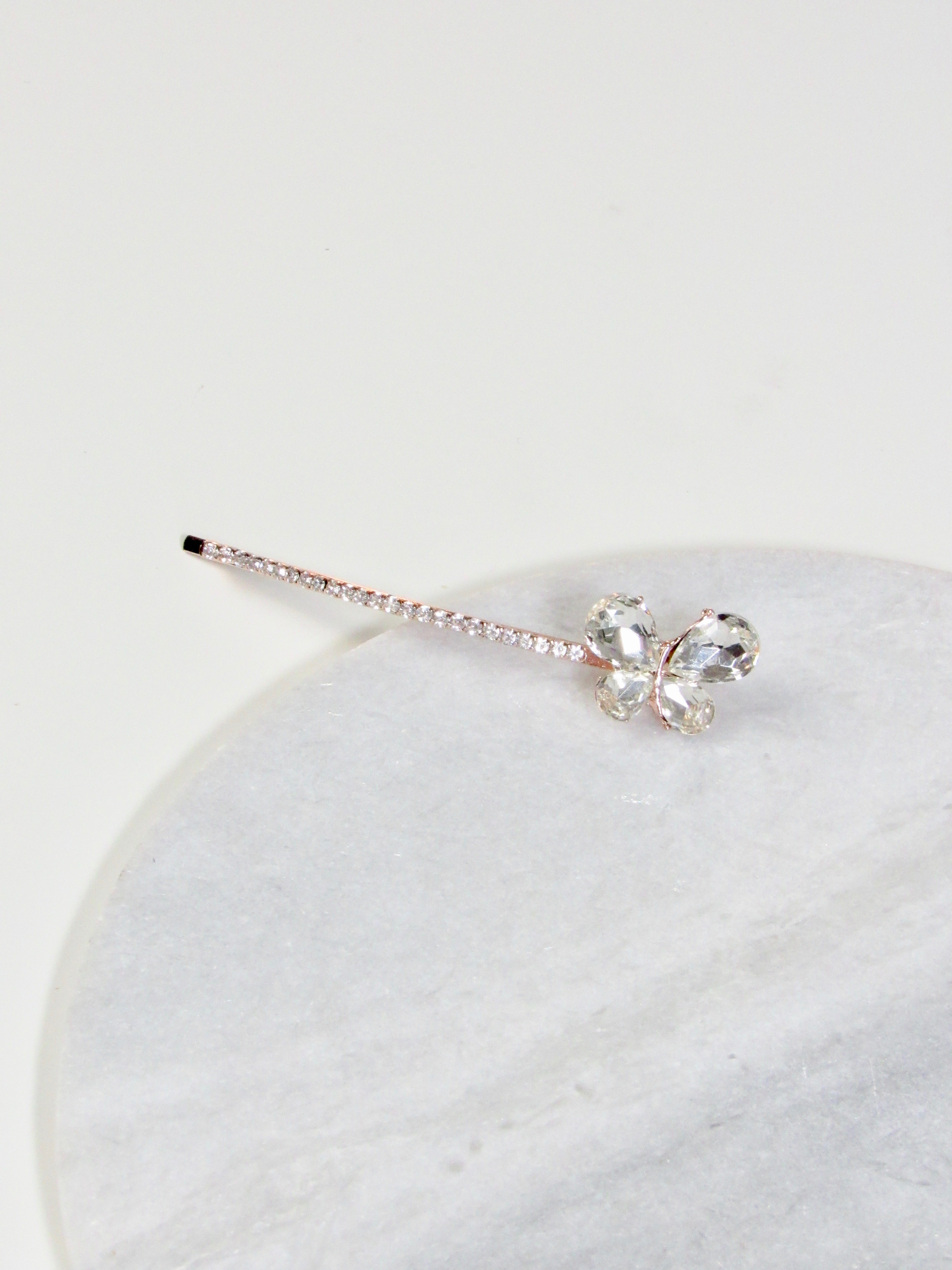 Butterfly Crystal 14k Rose Gold Plated Bobby Pin