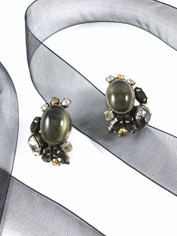 Vintage 60s Antique Noir Cabochon Glass Earrings