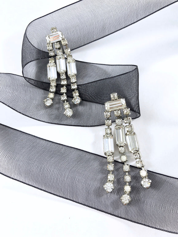 Vintage 60s Step-Cut Crystals Chandelier Fringe Earrings