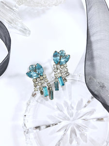 Vintage 60s Bluebell Floral Crystals Fringe Earrings