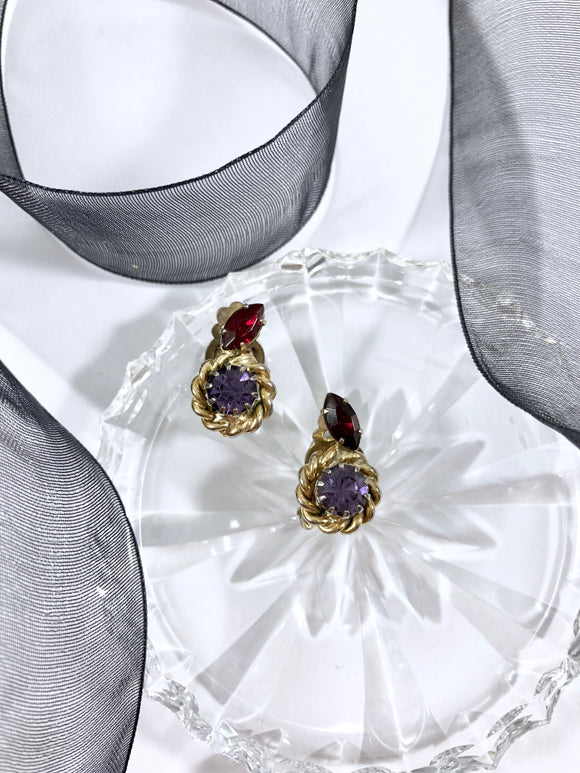 Vintage 60s Petite Ruby-Amethyst Earrings