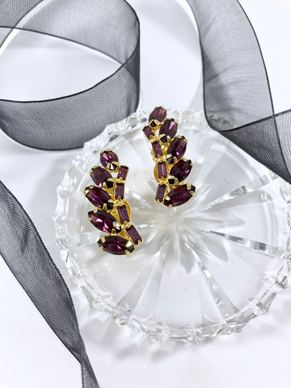 Vintage 60s Radial Burgundy Climber Earrings