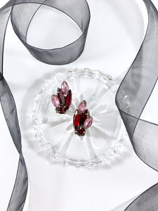 Vintage 60s Ruby Jewels Cluster Earrings