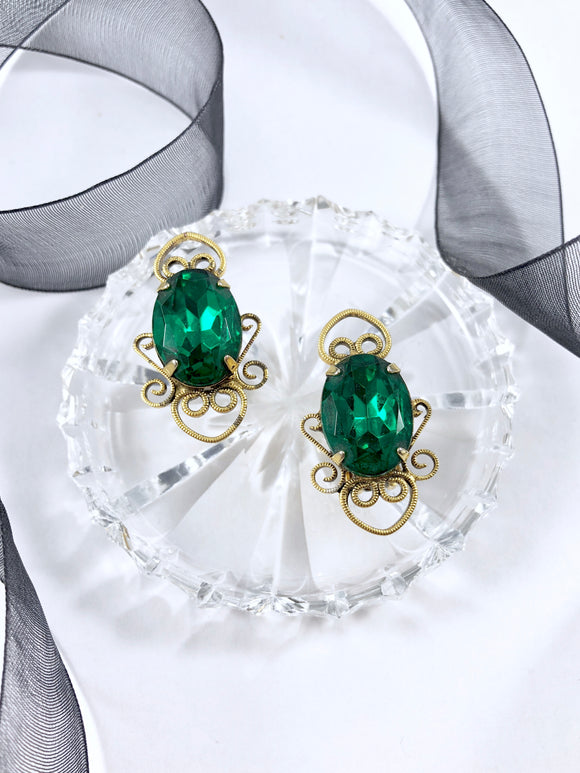 Vintage 60s Nouveau Aqua Emerald Earrings