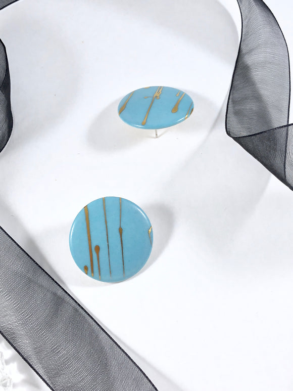 80s Abstract Sky Reflection Disc Statement Earrings