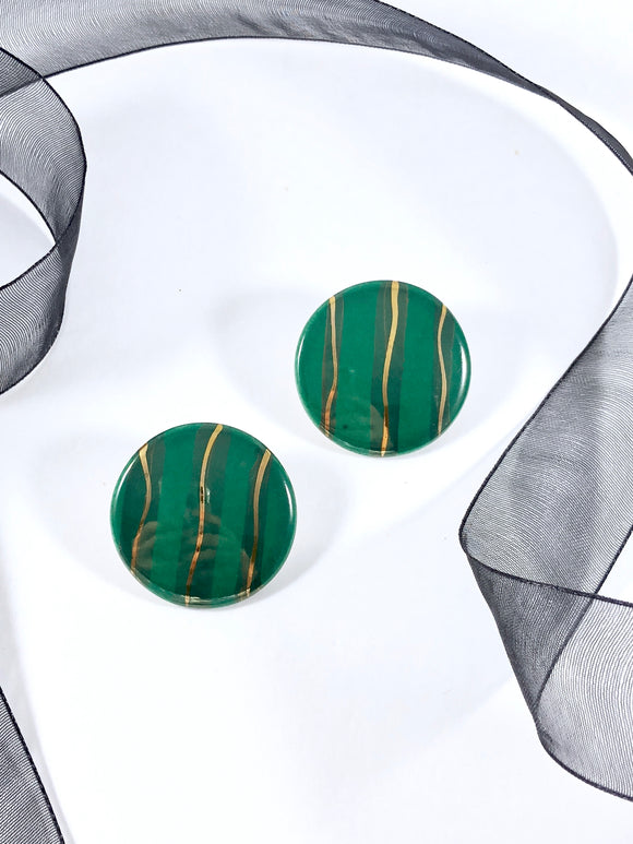 80s Abstract peacock Reflection Disc Statement Earrings