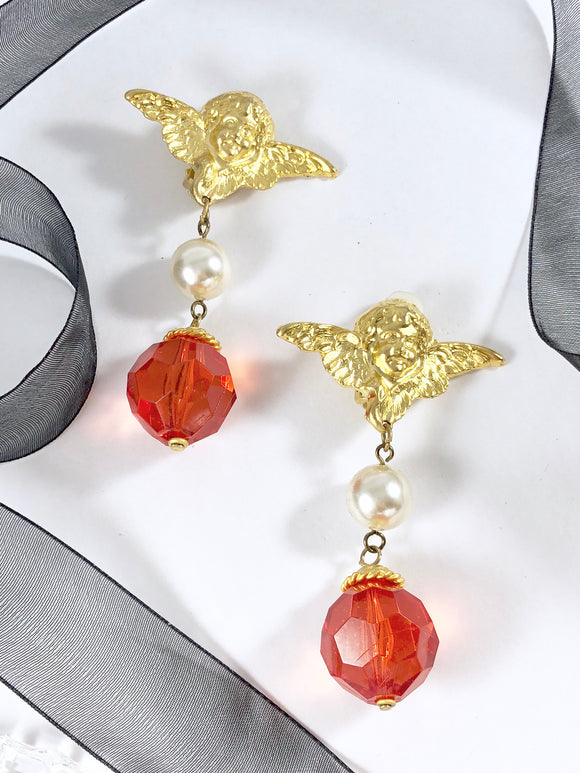 Vintage 80s Gold Cherub with Dangle Pearl Cherry Crystal Earrings