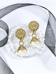 "Vintage 80s ""1928"" Art Deco Pearl Drop Gold Plated Earrings"