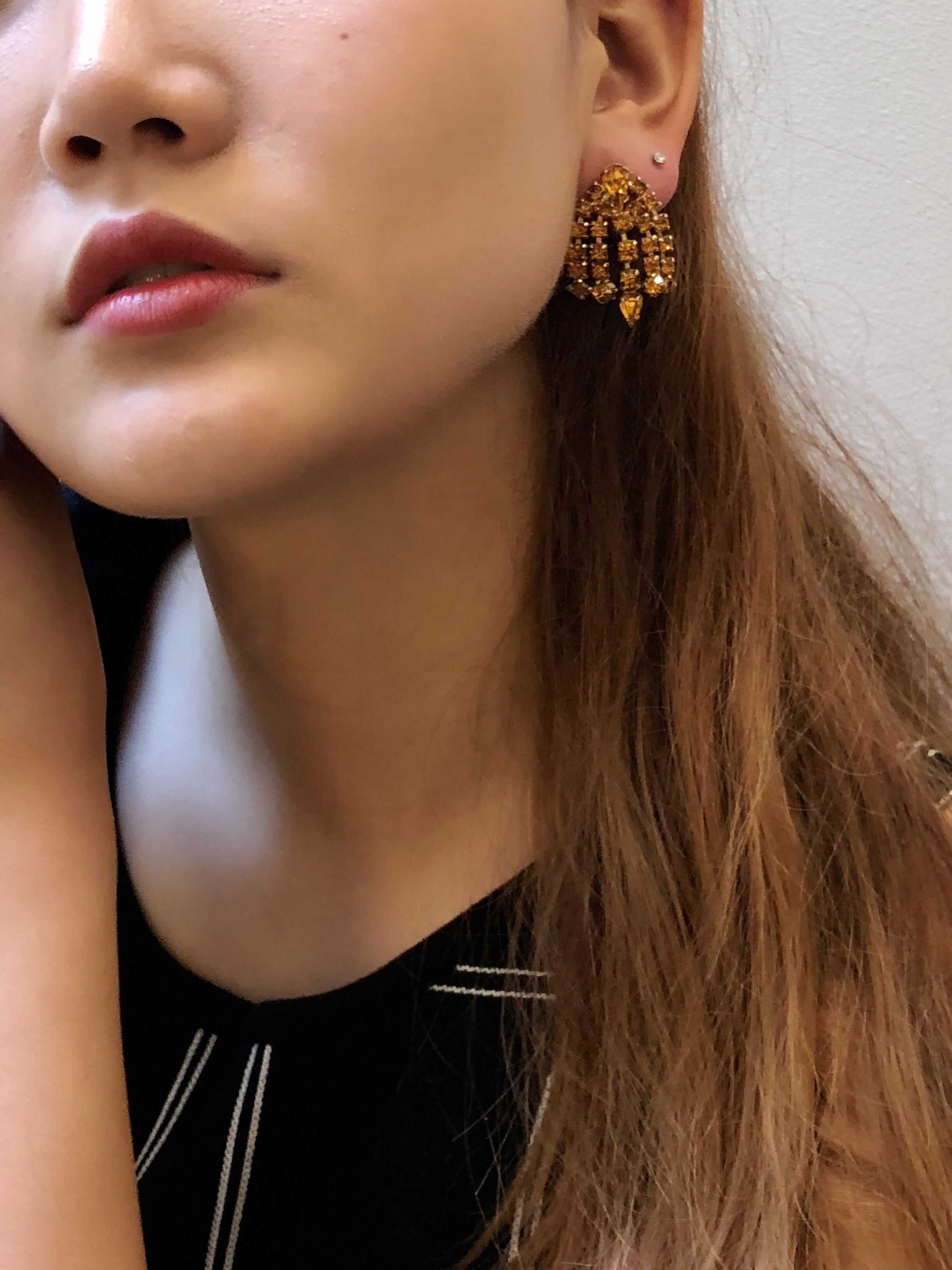 Vintage 60s Amber Crystals Chandelier Earrings